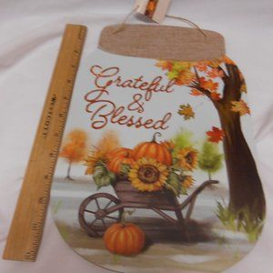 New Grateful & Blessed Rustic fall Sign mason jar